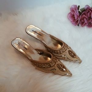 dollhouse | gold sequin 1.5 inch pointed toe heels
